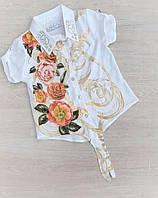 """Блузка дитяча ошатна на зав'язці з квітами на дівчинку 7-10 років """"MARI"""" купити недорого від прямого постачальника"""