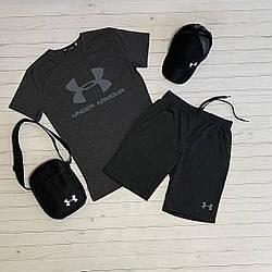 Under Armour мужской темно серый спортивный комплект костюм лето/весна. Футболка+шорты+кепка+мессенджер 50