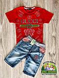 Красная стильная детская футболка Gucci на мальчика 2-3 года, фото 3