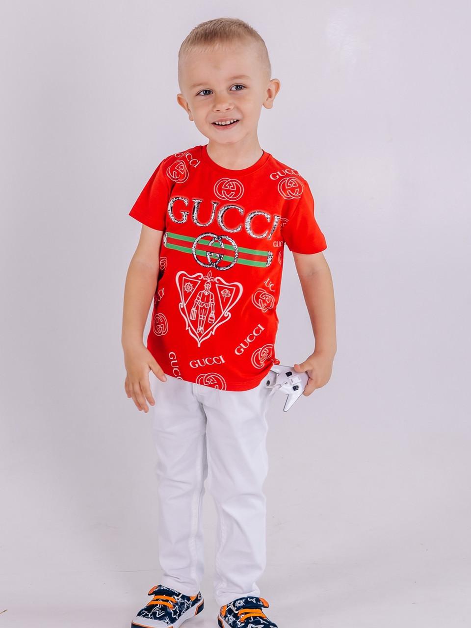 Красная стильная детская футболка Gucci на мальчика 2-3 года