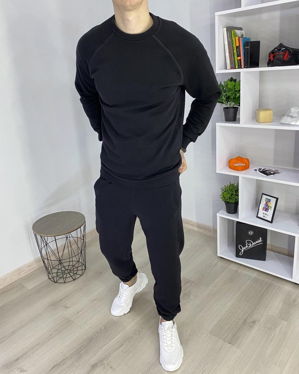 Чоловічий Чорний Спортивний костюм Футболка і Штани