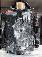 Мужская кофта с капюшоном Волк Турция размеры норма 46-52 черного цвета