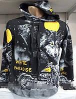 Мужская кофта с капюшоном White Paradise Турция размеры норма 46-52 черного цвета