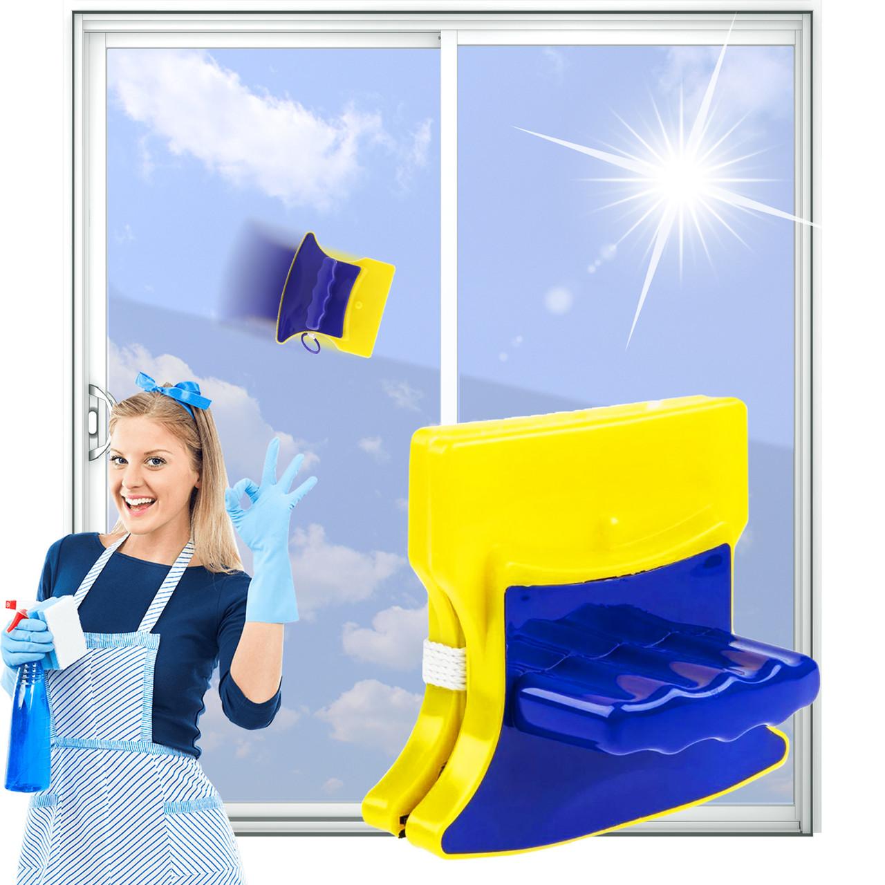 Магнитная щетка приспособление для мытья окон с обеих сторон Glass Wiper Тряпка магнит для мытья окон