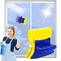 Магнитная щетка приспособление для мытья окон с обеих сторон Glass Wiper Тряпка магнит для мытья окон, фото 1
