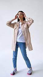 Коттоновая жіноча сорочка з кишенями оверсайз