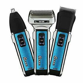 Акумуляторна машинка для стрижки волосся і бороди 3 в 1 тример бритва Gemei GM-589