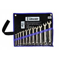 Набір ключів ріжково-накидних Cr-V, 11 шт., (7–19 мм),  48-936 Konner // Набор ключей рожково-накидных, Cr-V