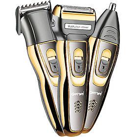 Аккумуляторная машинка для стрижки волос и бороды 3 в 1 триммер бритва Gemei GM-595