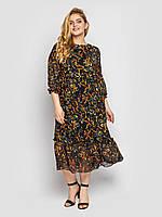 Длинное свободное платье с принтом Большие размеры 52 54 56 58