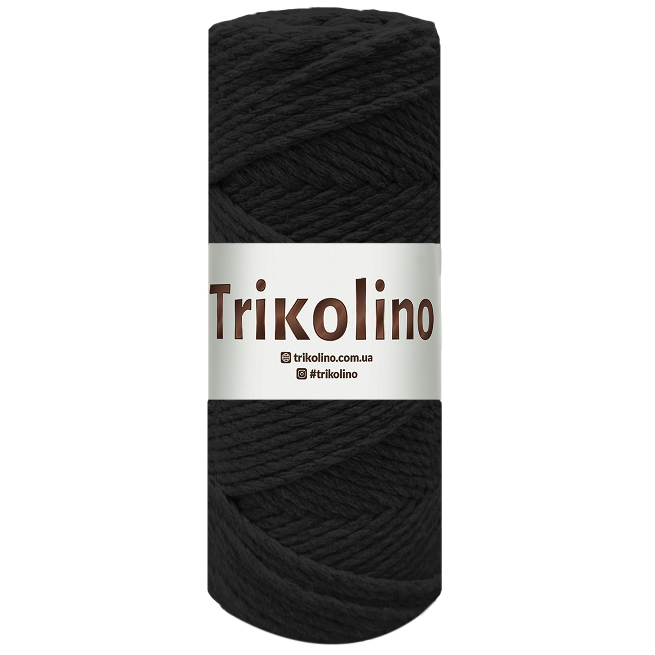 Хлопковый шнур макраме крученый Черный. 250 г,100 м, 3 мм