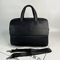 Мужской кожаный портфель для документов Giorgio Armani Джорджо Армани реплика черный