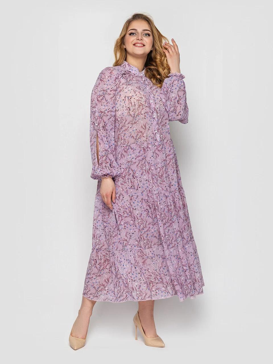 Длинное платье из шифона весна-лето с вырезами на рукавах принт цветочек, большие размеры 52-58
