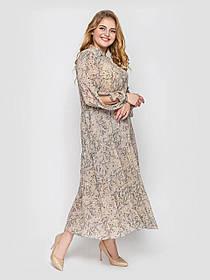 Довге плаття з шифону весна-літо з вирізами на рукавах принт квіточку, великі розміри 52-58