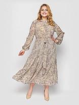 Длинное платье из шифона весна-лето с вырезами на рукавах принт цветочек, большие размеры 52-58, фото 3