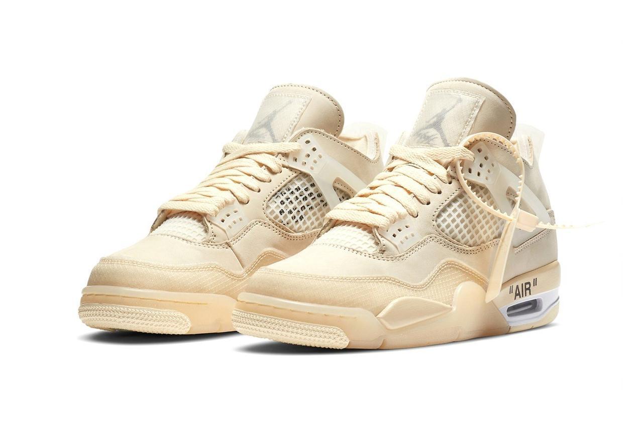 Баскетбольні кросівки Nike Air Jordan 4 Retro x Off-White Cream/Sail / Найк Аїр Джордан (Топ репліка ААА+)