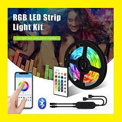 Светодиодная лента 5V USB LED 5050 BLUETOOTH RGB комплект 5 метров, разноцветная (управление через телефон)