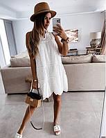 Женское  белое  платье из прошвы до колена
