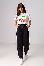 Модные черные джинсы-бананы с высокой посадкой в размерах: S, M, L, XL