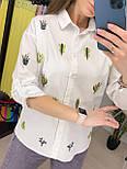 Сорочка жіноча біла бавовна Кактуси, фото 6