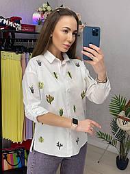 Сорочка жіноча біла бавовна Кактуси