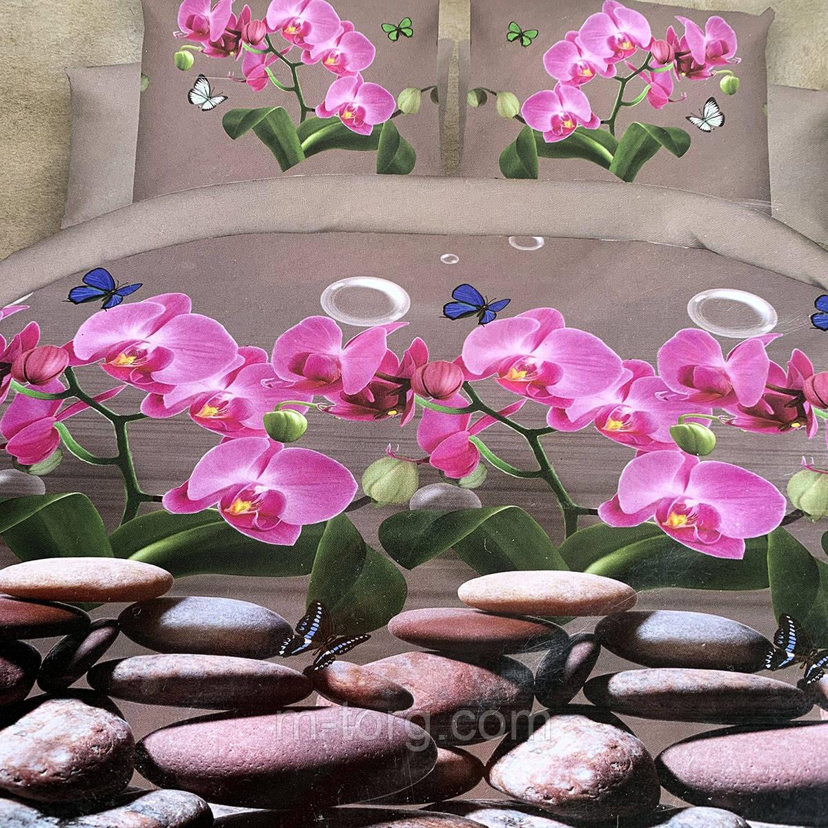 """""""орхидеи"""" Постельное белье 3D эффект евро размер, нав-ки 70/70"""