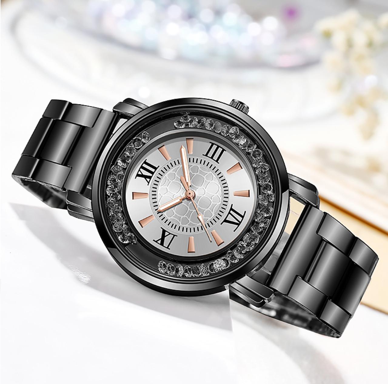 Часы женские металлический ремешок камни пересыпаются красиво
