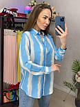 Сорочка жіноча бавовна в смужку вільного крою (2 кольори), фото 4