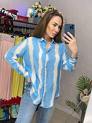 Рубашка женская хлопок в полоску свободного кроя (2 цвета)