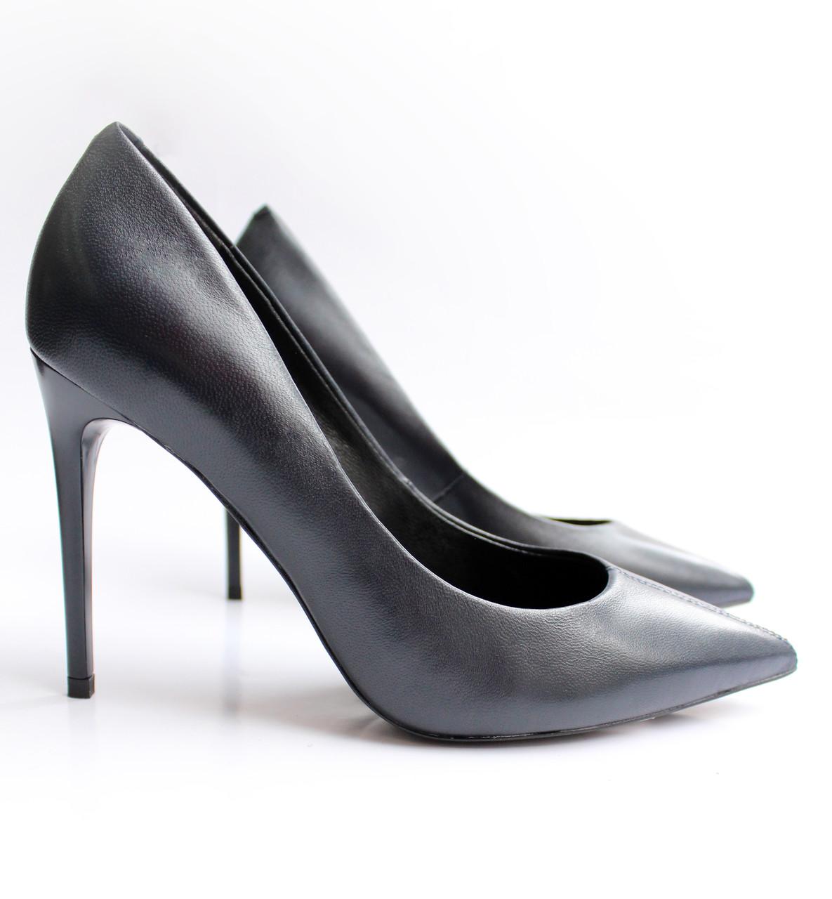 Женские кожаные туфли темно-синие