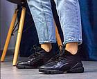 Стильні жіночі текстильні кросівки чорного кольору, фото 2