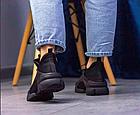 Стильні жіночі текстильні кросівки чорного кольору, фото 7