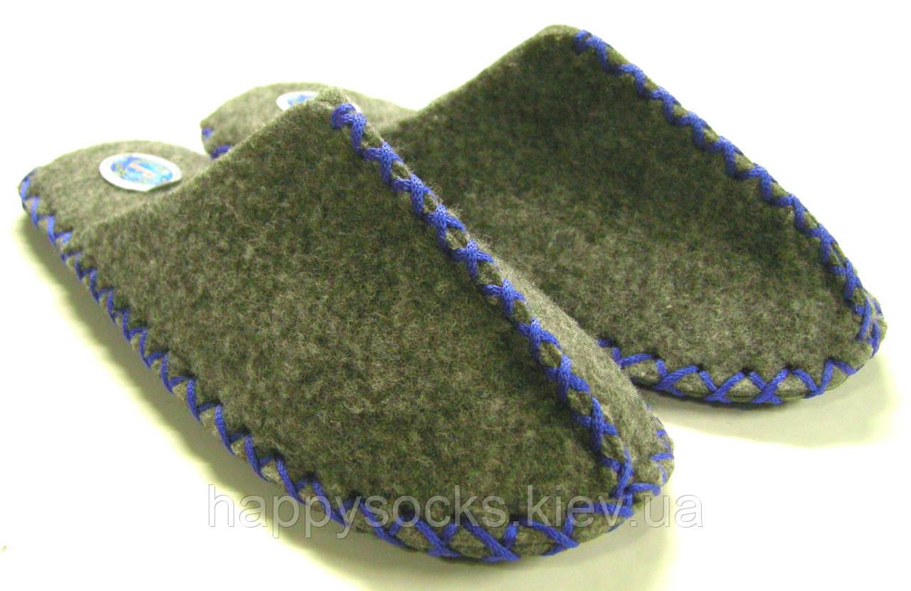 Тапочки мужские из войлока ручной работы с синим шнурком