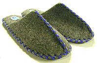 Тапочки мужские из войлока ручной работы с синим шнурком, фото 1