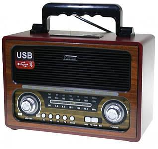 Портативный ретро радиоприемник  и mp3 блютуз колонка в винтажном стиле 2в1 Brown Kemai с USB