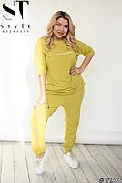 Женский легкий спортивный костюм из двунити с коротким рукавом (Батал), фото 5