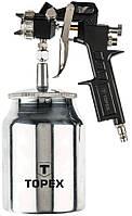 Краскопульт TOPEX пневматичний, нижній бачок 1.0 л., сопло 1,5 мм, 4 бар, 75 - 230 л/хв, подвійна