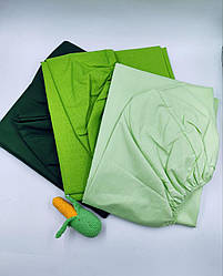 Простынь двуспальная  на резинке  зеленая для матраса 160x200 в ассортименте  бязь Голд