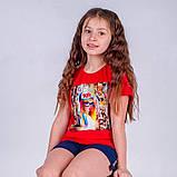 Футболка молодежная для девочки Free Girl, лимонная, красная, синяя, фото 4