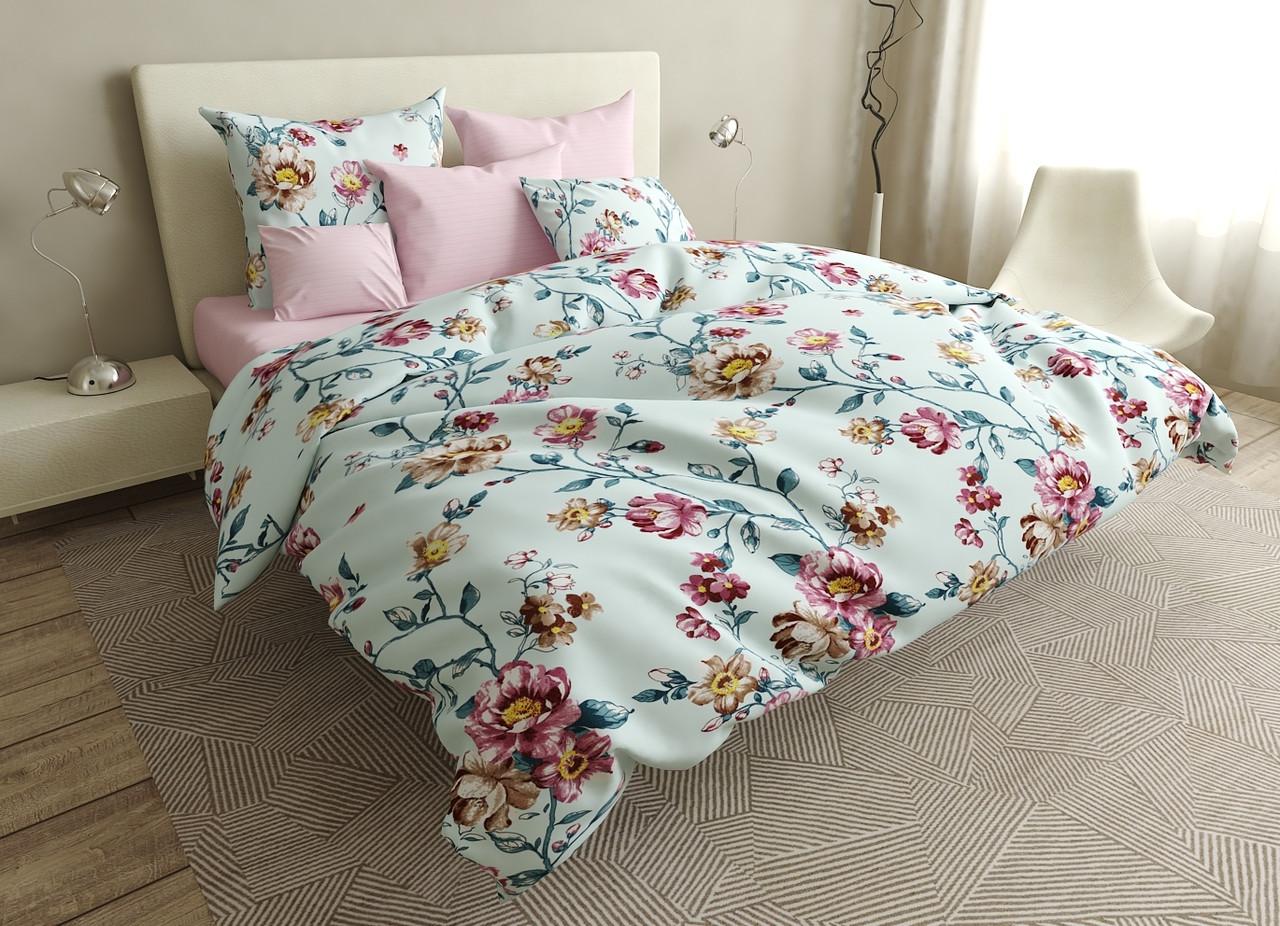 Двуспальный комплект постельного белья евро 200*220 ранфорс  (17035) TM KRISPOL Украина
