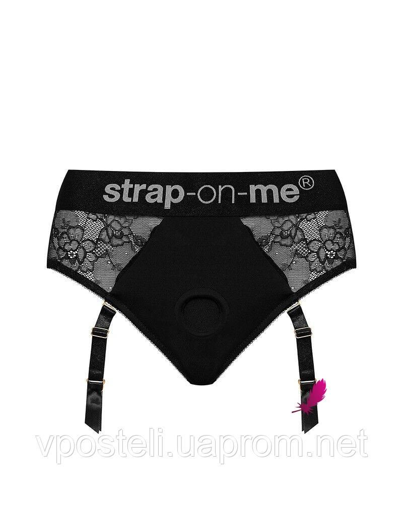 Кружевные трусы для страпона с подвязками для чулок Strap-On-Me DIVA HARNESS