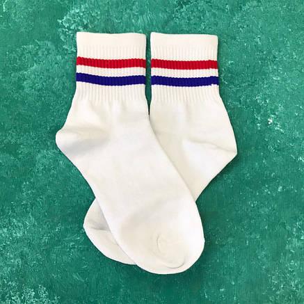 Шкарпетки Середні Жіночі Чоловічі City-A Tianbailum c Двома Смуг Білі (Червона і синя) 37-42, фото 2