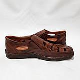 Чоловічі шкіряні туфлі літні, прошиті (Валкер) перфорація коричневі, фото 5