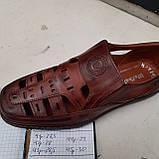 Чоловічі шкіряні туфлі літні, прошиті (Валкер) перфорація коричневі, фото 9