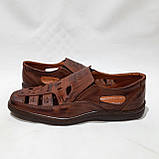 Чоловічі шкіряні туфлі літні, прошиті (Валкер) перфорація коричневі, фото 6