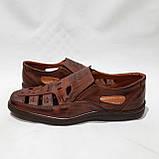 Мужские кожаные туфли летние, прошитые (Валкер) перфорация коричневые, фото 6