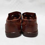 Чоловічі шкіряні туфлі літні, прошиті (Валкер) перфорація коричневі, фото 7