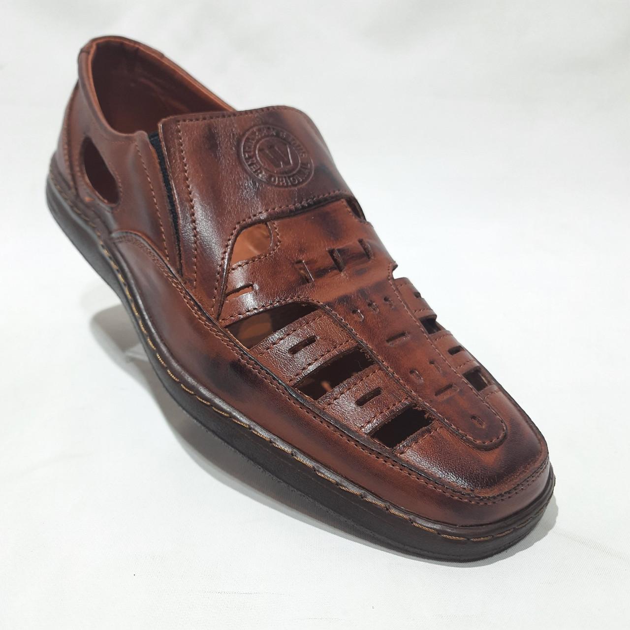 Чоловічі шкіряні туфлі літні, прошиті (Валкер) перфорація коричневі