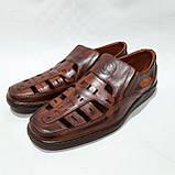 Чоловічі шкіряні туфлі літні, прошиті (Валкер) перфорація коричневі, фото 4