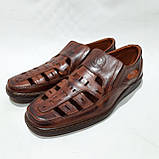 Мужские кожаные туфли летние, прошитые (Валкер) перфорация коричневые, фото 4